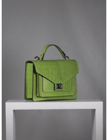 Bolso de piel en color verde manzana