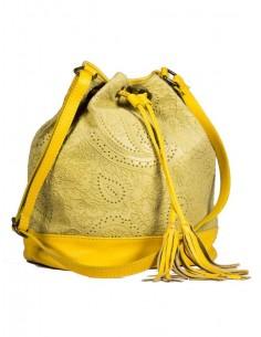 Bolso de piel amarillo con...