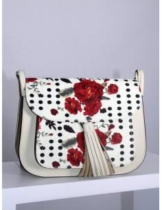 Bolso beige con rosas rojas