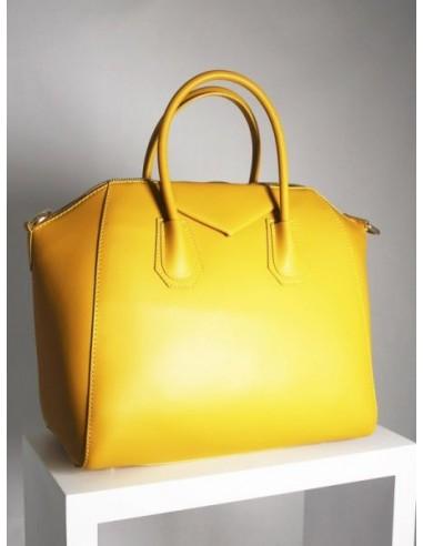 Bolso de cuero amarillo grande