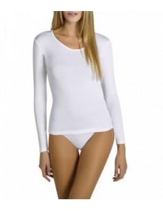 Camiseta térmica blanca y...