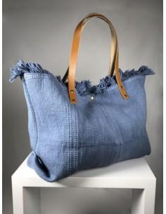 bolso de tela en azul con...