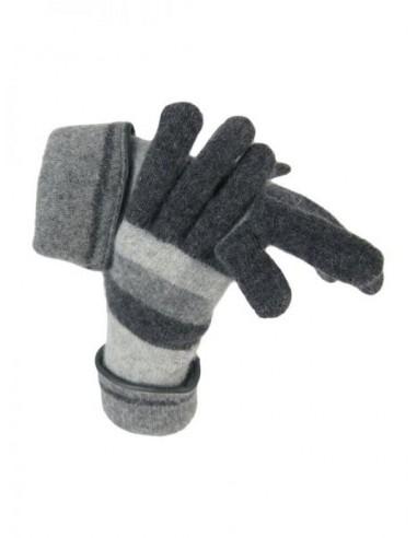 Guantes de lana con rayas grises