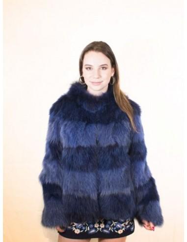 Chaqueta de piel de zorro azul