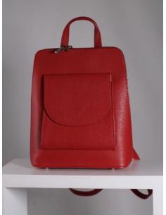 Bolso mochila de piel rojo...