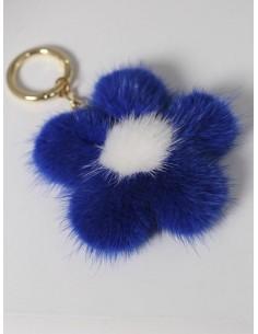 Llavero de visón flor azul...