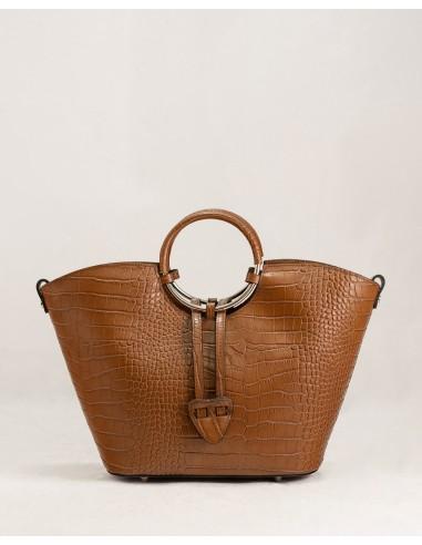 Bolso de piel labrada en color marrón