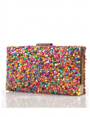 bolso de fiesta con pedrería de colores