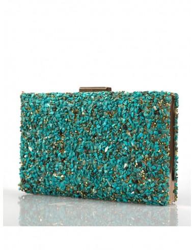 Bolso cartera de fiesta color turquesa