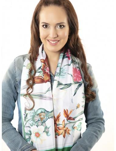 Pañuelo de seda con estampados florales