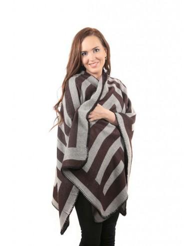 Bufanda capa de lana en colores marrones
