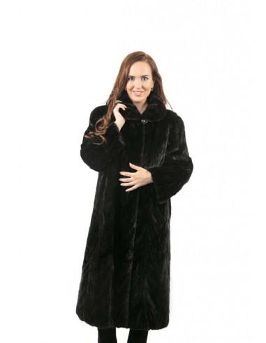 Abrigo clásico de trozo de visón negro