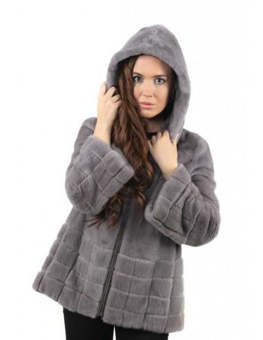 Chaqueta lomos de visón gris con capucha