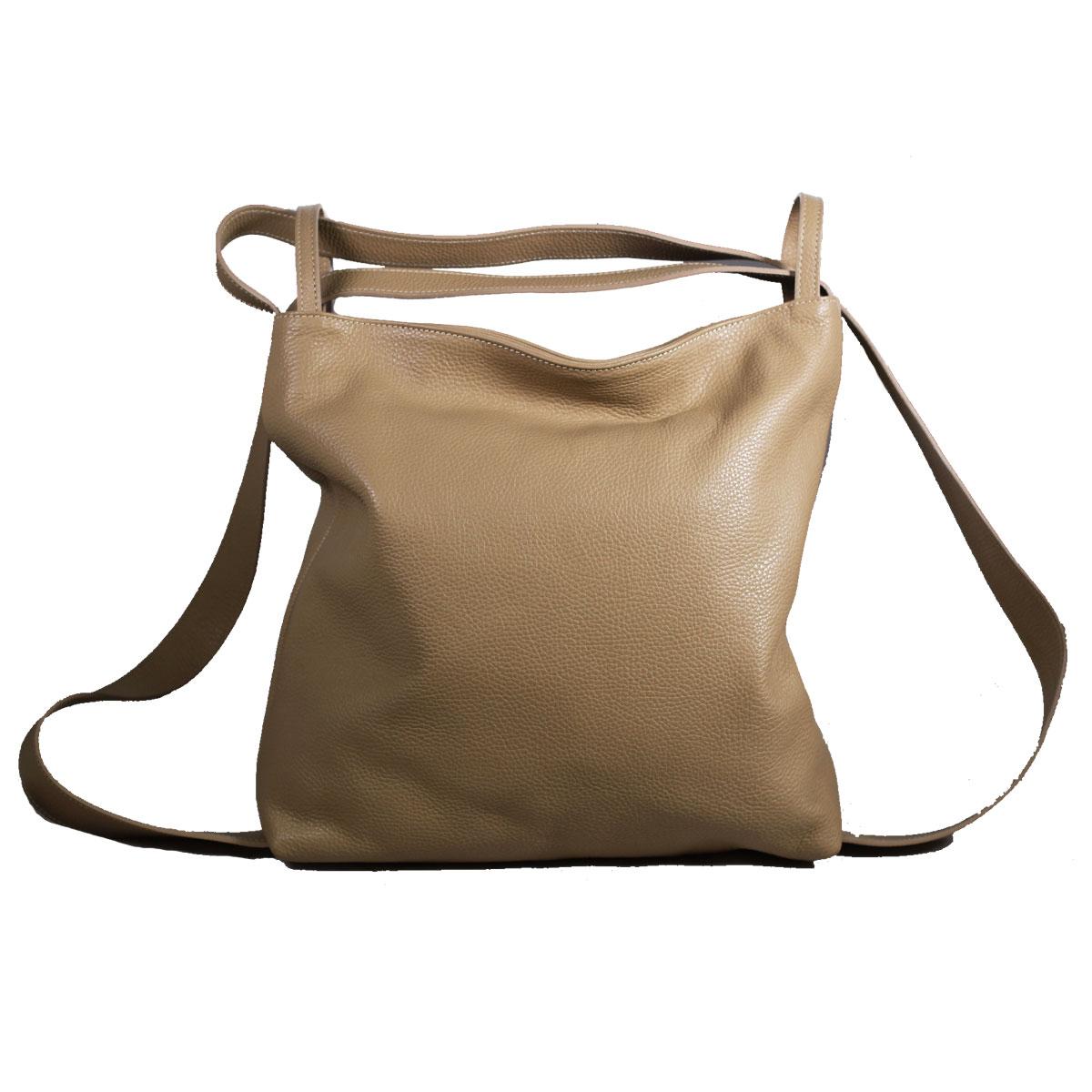 bolso mochila mujer beige